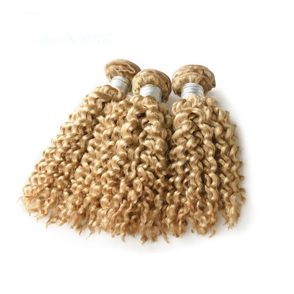 Blonde Kinky Curly Hair Extension #613 Kinky Curly Brazilian Virgin Remy Hair Extension Kinky Wavy 3 Bundles Deals Fast Ship For Black Women