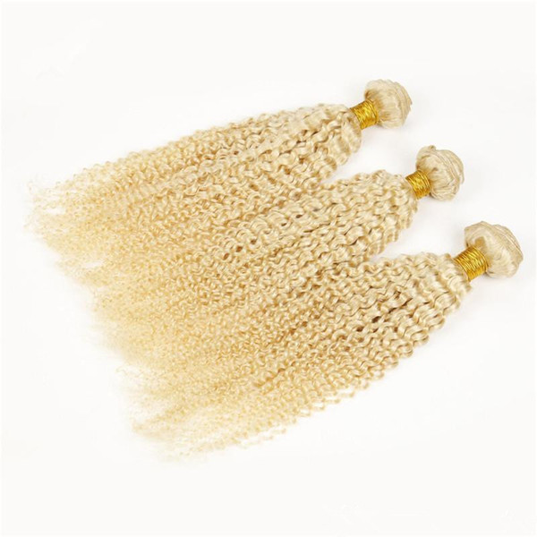 New Arrive Fashion Color Kinky Curly Blonde Hair Bundles 3Pcs Bleached Blonde Virgin Soft Hair Malaysian Hair Afro Kinky Blonde Bundles