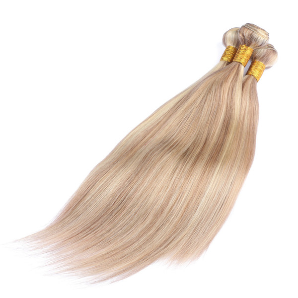 New Arrive Piano Color 27 613 Blonde Straight Human Hair Weaves Highlight Mixed Honey Blonde Brazilian Virgin 3 Bundles Wefts