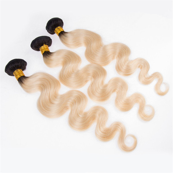 Ombre Human Hair Weave 3 Bundle Deals 1b 613 Brazilian Body Wave Hair Weave Non Remy Blonde Hair Free Shipping