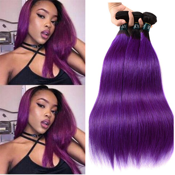 Two Tone 1B Purple Ombre Straight Hair 3 Bundles Black to Violet Ombre Human Hair Weaves 3Pcs Lot 8A Grade