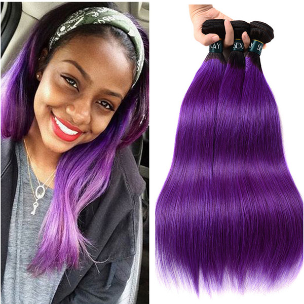 Purple Straight Hair Weaves Ombre Brazilian Virgin Hair Unprocess Purple Dark Roots Purple Two Tone Straight Hair Fast Shipping