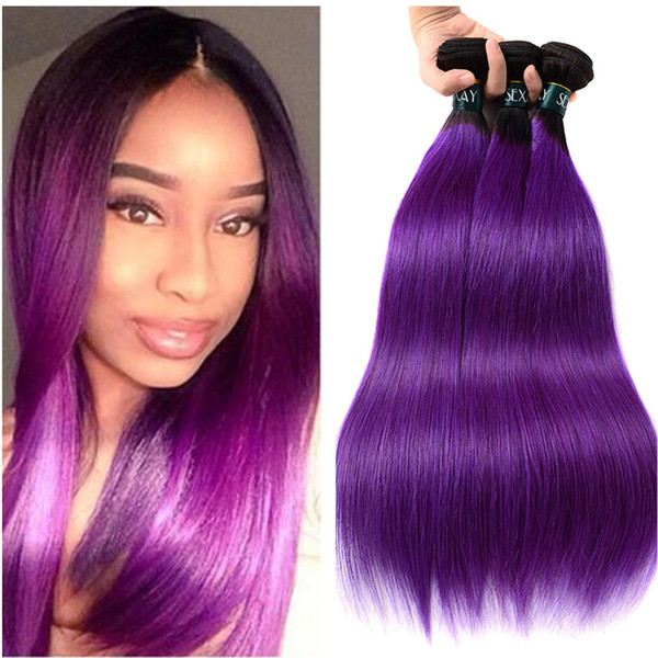 Dark Root Purple Straight Human Peruvian Virgin Hair Extension Silk Straight Purple Hair Extension 3Pcs Purple Ombre Hair Weaves High Qualit