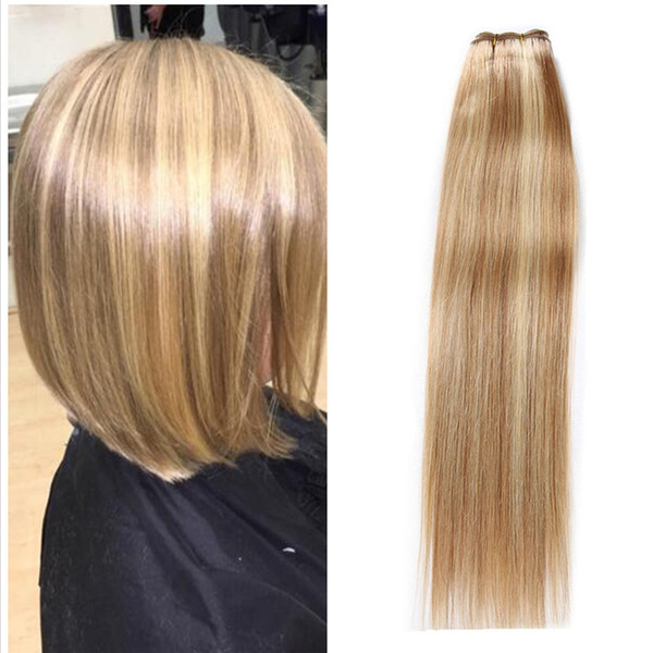 8 613 Piano Color Hair Extension Chololate Brown Blonde Mixed Hair Weft 3 Bundles Brazilian Virgin Human Hair Weaves 3Pcs/Lot