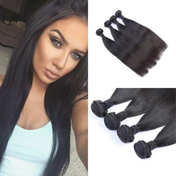 Peruvian Human Hair 4 Bundles Cheap 100% Unprocessed Straight Virgin Hair Weaves Free Shipping FDSHINE HAIR