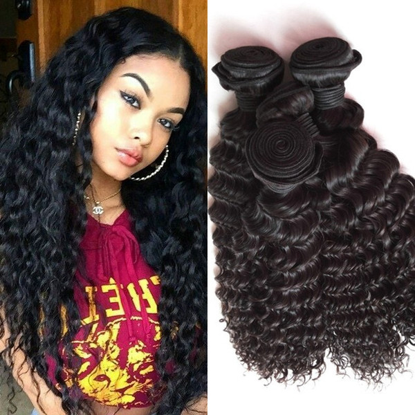 Human Hair 4 Bundles 8-30 inch Peruvian Deep Wave Virgin Hair Weaves High Quality FDshine HAIR