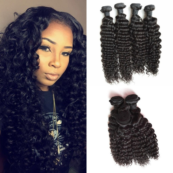 Deep Wave Hair Wefts 4pcs Virgin Curly Malaysian Human Hair Weaves Bundles 10A Grade Fast Shipping FDshine HAIR