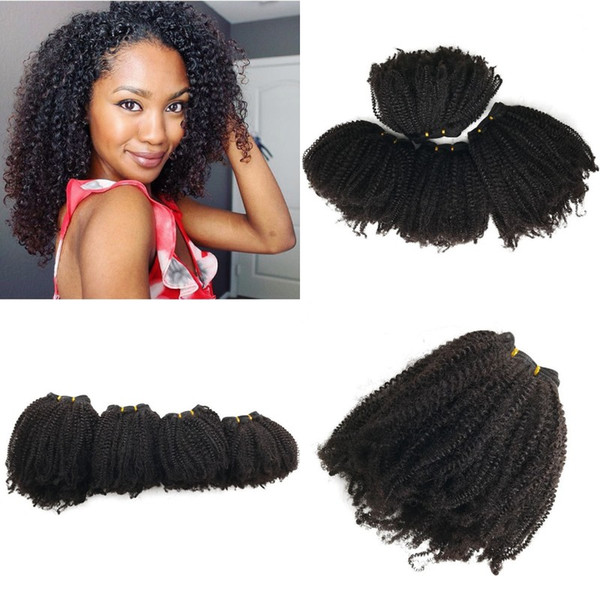 100% Human Hair Extensions Kinky Curly Virgin Hair 4 Bundles Natural Color Brazilian Hair Weaves FDshine