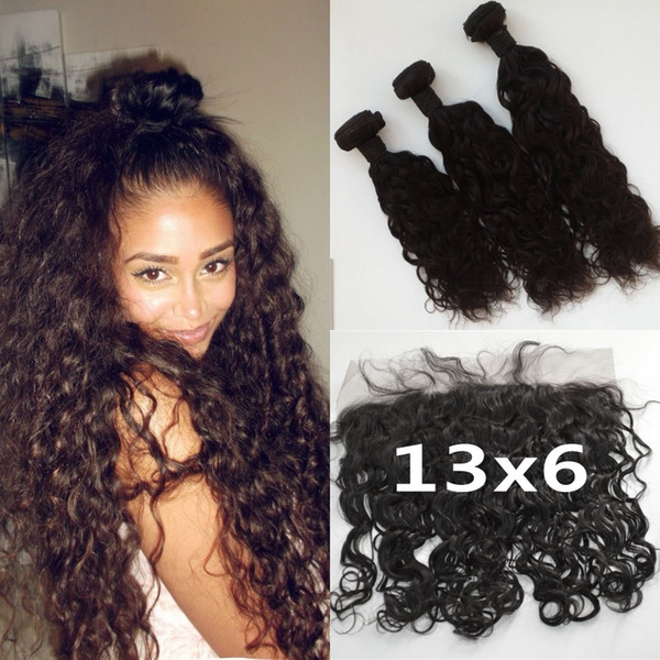 13x6 Lace Frontal Closure With Brazilian Water Wave Hair Bundles Unprocessed Human Hair Ear To Ear Full Frontal Lace Closure LaurieJ Hair