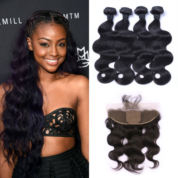 body wave hair weave bundles with silk base frontal bleached knots Malaysian Body Wave Virgin Hair With Closure LaurieJ Hair