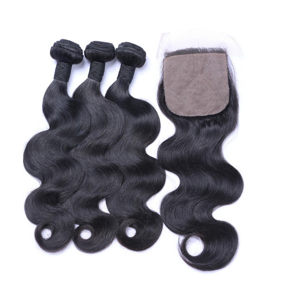 Brazilian Virgin Hair With Closure 100% Human Hair Natural Brazilian Body Wave Silk Base Closure Bundles
