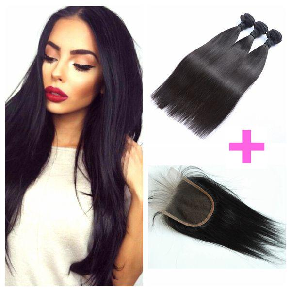8-30inch Peruvian Straight Hair Lace Closure With 3 Bundles Human Hair Weave Can Be Dyed DHL FREE LaurieJ Hair