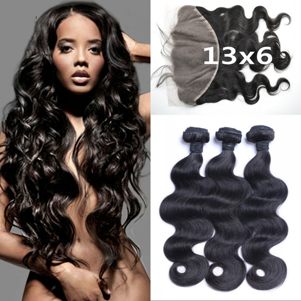 3 Bundles With 13X6 Lace Frontal Closure Brazilian Body Wave Human Hair Weave 8-30inch Natural Black LaurieJ Hair
