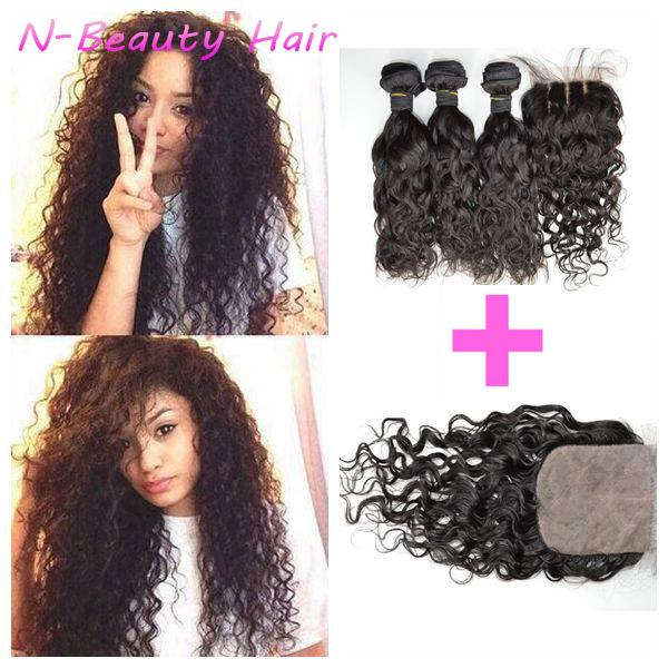Free Middle Three Part Silk Base Lace Closure With Bundles 3pcs Unprocessed Water Wave DHL FREE LaurieJ Hair