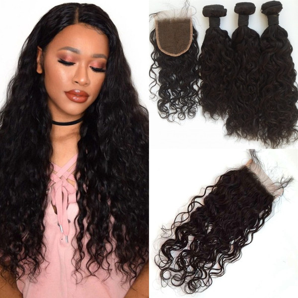 Wet And Wavy Human Hair With Closure Natural Black Mongolian Virgin Water Wave Hair Bundles With Closure LaurieJ Hair