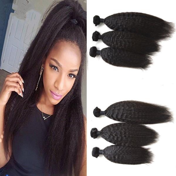 Peruvian Kinky Straight Hair Weave Bundles Unprocessed Coarse Yaki Human Hair Extensions Can Be Dyed No Shedding DHL FREE LaurieJ Hair