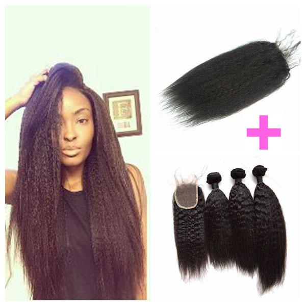 Kinky Straight Lace Closure With Bundles Peruvian Coarse Yaki Human Hair 4x4 Lace Closure With Baby Hair LaurieJ Hair