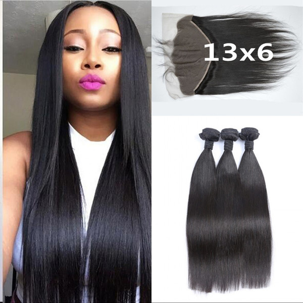 Bleached Knots 13x6 Frontal Lace Closure With 3 Bundles Brazilian Straight Hair Ear To Ear Lace Frontals No Shedding LaurieJ Hair