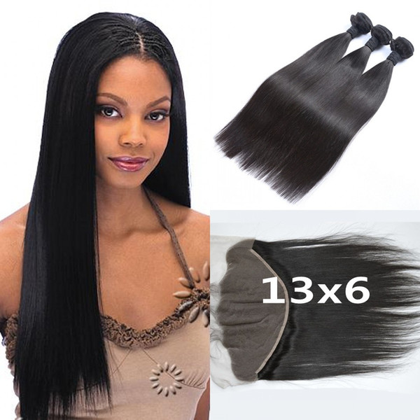 Peruvian Human Hair Straight With Frontal Lace Closure 4pcs Lot Unprocessed Peruvian Straight Hair Ear To Ear Lace Frontal 13x6 LaurieJ Hair