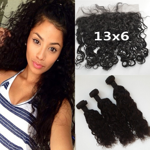 Brazilian Water Wave Frontal Lace Closure Bleached Knots 13x6 With 3 Bundles Brazilian Human Hair Ear To Ear Frontal Closure LaurieJ Hair
