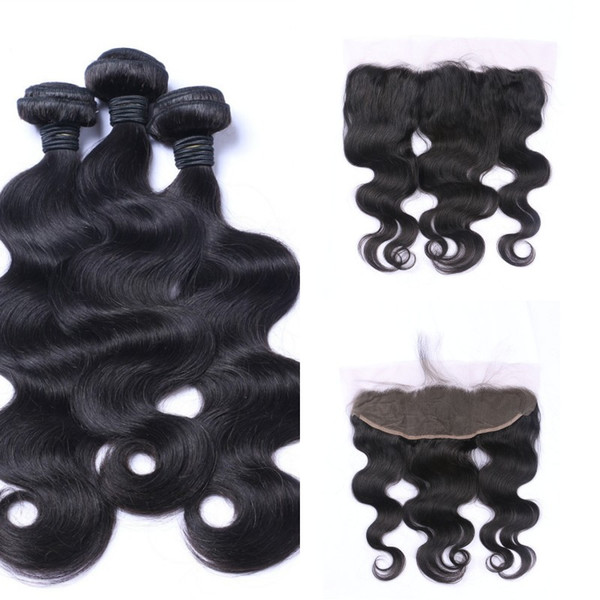 Lace Frontal Closure With Indian Body Wave Virgin Hair Bundles Unprocessed Human Hair Extensions 8-30inch LaurieJ Hair