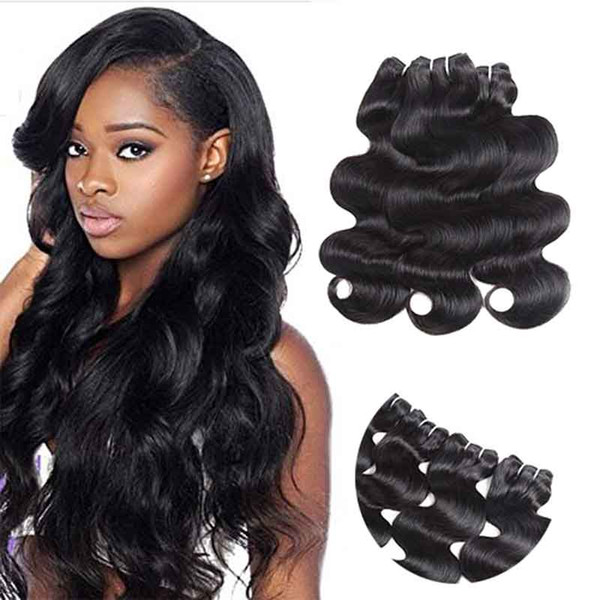 Peruvian Hair Wefts 3 Bundle Body Wave Real Virgin Raw Human Hair Unprocessed Double Weft Weave Natural Color