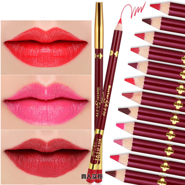 Lip Pencils 12 colors Eyeliner women Makeup Cosmetic lipstick pen Eyebrowse Pen Liner Eyebrow Pencil Brush Tool Eye Shadow