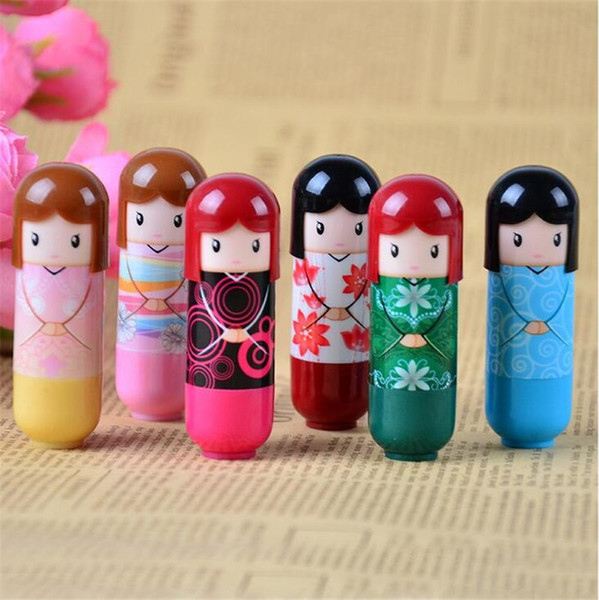 Cute Kawaii Lip Balm Kimono Doll Makeup Cosmetic Tools Beauty Makeup Lipgloss Japanese Doll Style Lip Balm
