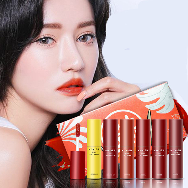 KAXIER Brand 6 colors Makeup Liquid Lipstick Set Waterproof Long Lasting High Pigments Sexy Dark Red Matte Lip Gloss Cosmetics