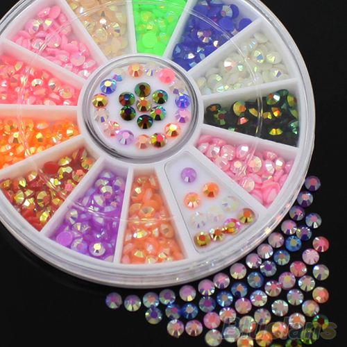 Colorful Fluorescent 3D Acrylic Glitters DIY Decal Nail Art Stips Stickers Wheel 46MZ