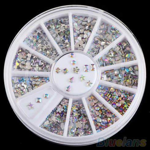 6 Styles Colorful Acrylic Nail Art Stickers Tips Glitter Rhinestone Nail Decorations 1QFZ 4C2F