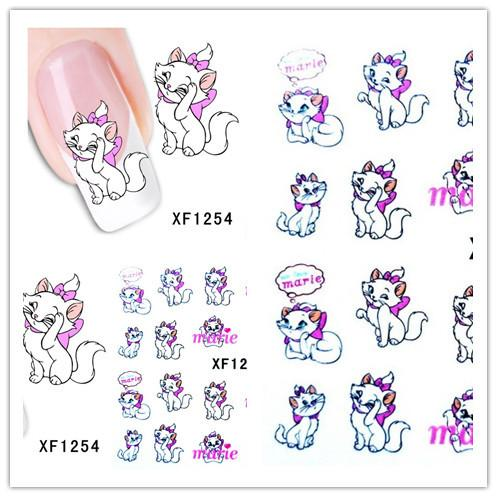 1 Aheet XF1254 Cartoon Style Watermark Water Transfer Design Cute Cats Tip Nail Art Sticker Nails Decal Manicure Tools
