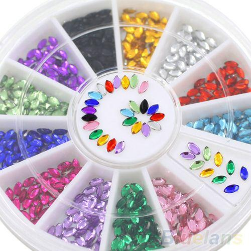 2016 HotMulticolor Oval 3D Glitters Studs DIY Decoration Nail Art Tips Stickers Wheel 7COR 8LCC