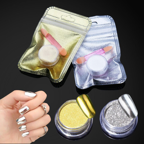 Belen Magic Mirror Chrome Powder Metallic Gold Silver Nail Powder With Sponge Stick Makeup Dust Nail Art DIY Pigment Glitters