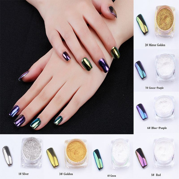 7 color Metal Nail Art Tip Decoration Pigment Glitters Dust 1 pcs 2g Mirror Powder For Nail Polish 3D Nail Art Decoration