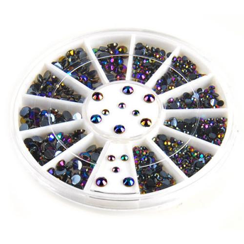 300pcs 3D Gems Crystal Nail Art Stickers Tips Glitter Rhinestone DIY Decorations + Wheel 5WAM 7GQU 8UEX