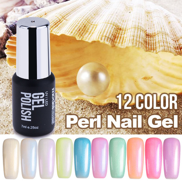 Modelones Newest 7ML Fashion Pearl UV Nail Gel Polish UV Pure Color Shell Nail Polish DIY Nail Art Blue Color Gel Glue