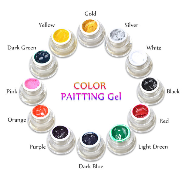 Brand New DIY Nail Art Colors 3D Nail Art Paint Color Gel Draw Painting Acrylic Color UV Gel Tip 12 Colors Painting Gel In Nail