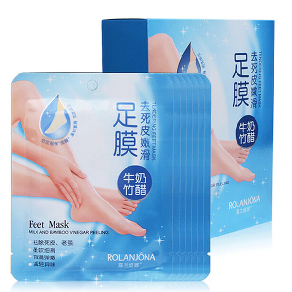 Rolanjona Feet Mask Skin Care Milk Bamboo Vinegar Smooth FeetMask Deep cleaning 7 pairs a box DHL free from wogoto