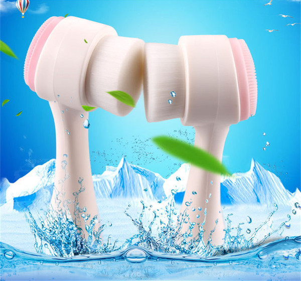 Face Wash Brush Skin Cleaner Facial Deep Cleansing Cleanser Brush Face Soft Facial Beauty Nature Massager two-sided brush