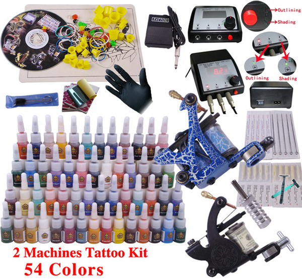 YLT-12 Tattoo kit complete tattoo tool equipment 2machines permanent makeup machine tip needles power supply set