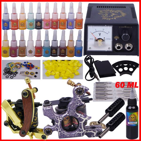YLT-79 Tattoo kit complete tattoo tool equipment 2machines permanent makeup machine tip needles power supply set