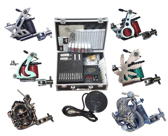 TK014 Professional Complete Tattoo Kit Tattoo Starter Set Body Art kit 8 Machines F5ee Shipping By EMS