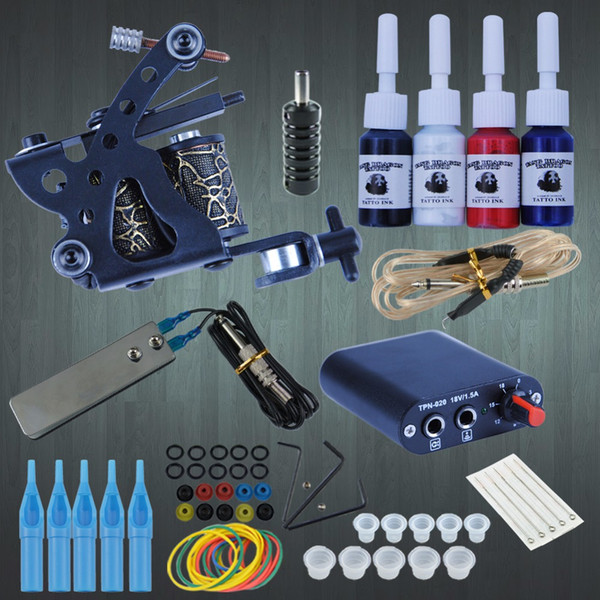 Starter Tattoo Kit 8 Wrap Coils Tattoo Gun Machines 4Pcs/Set Ink Grips Needles Tips Power Supply Beginner Tatu Supplies