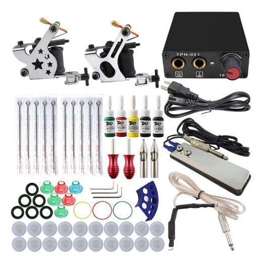 New Complete Tattoo Machine Kit Set 2 Coils Guns 5 Colors Black Pigment Sets Power Tattoo Beginner Grips Kits Permanent Makeup