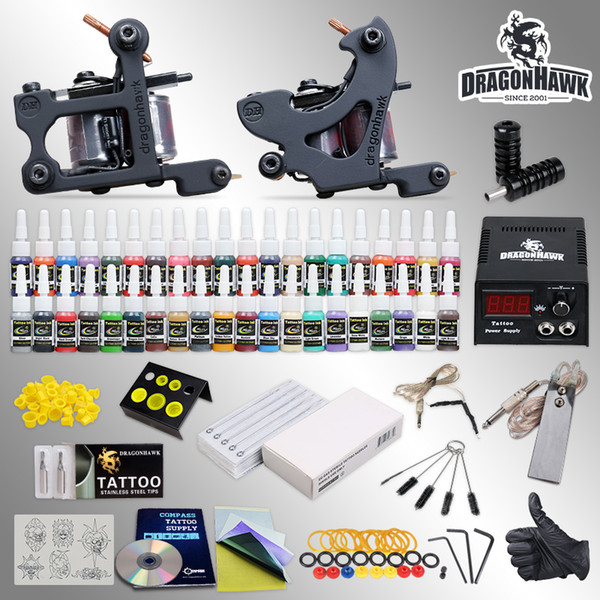 Tattoo Kit 2 Machine Gun 40 Color Ink Power Supply Needles Grip Tips HW-10GD-1
