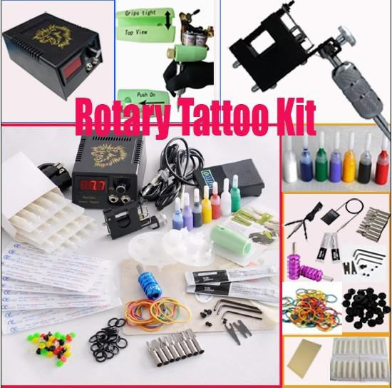 Rotary Tattoo Machine Gun Kits LED Power Supply Set 20 Needles 8 Steel Tips Accessories