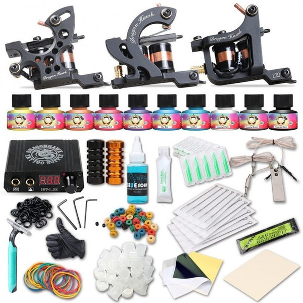 Professional Tattoo Kit 3 Machine Guns Immortal Inks Mini Power Supply Disposable Needles Tips Grips Supplies
