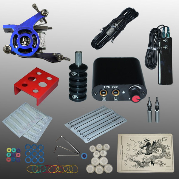 Professional Tattoo kits tattoo guns machine black tattoo machine power supply disposable needle free shipping 1100487-3kit