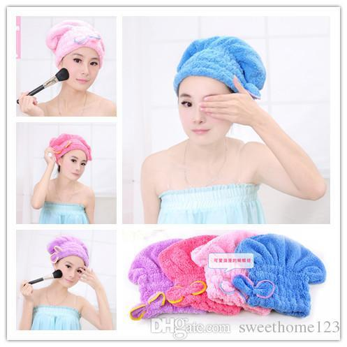 Microfiber Magic Hair Dry Drying Turban Wrap Towel/Hat/Cap Quick Dry Towel Quick Dry Shower cap